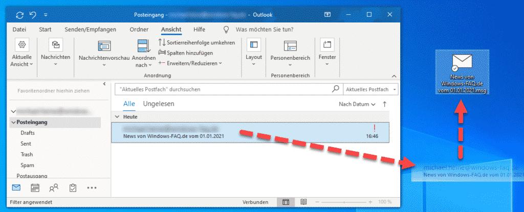 E-Mail aus Outlook auf den Desktop ziehen