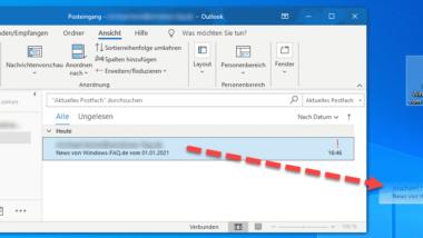 E-Mails aus Outlook auf dem Desktop speichern