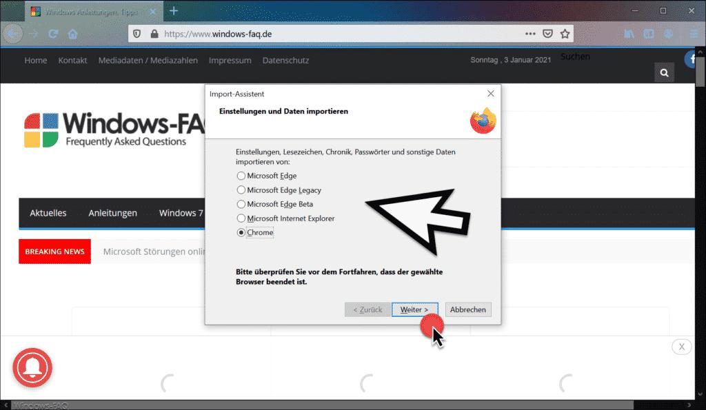 Einstellungen und Daten in Firefox importieren