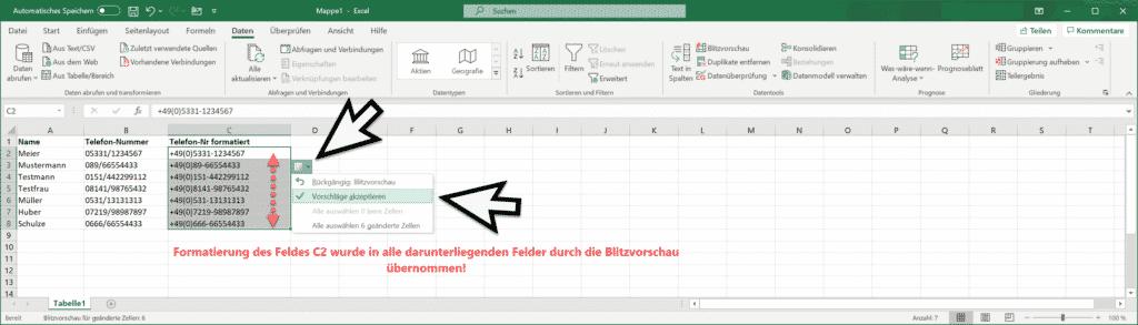 Excel Blitzvorschau erneut Felder mit gleicher Formatierung