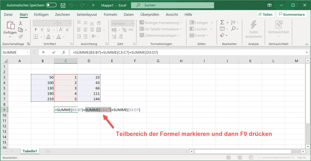 Excel Formel mit F2 bearbeiten und Teilformel markieren