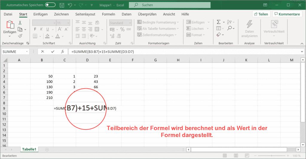 Excel mit F9 Teilergebnis der Formel anzeigen lassen