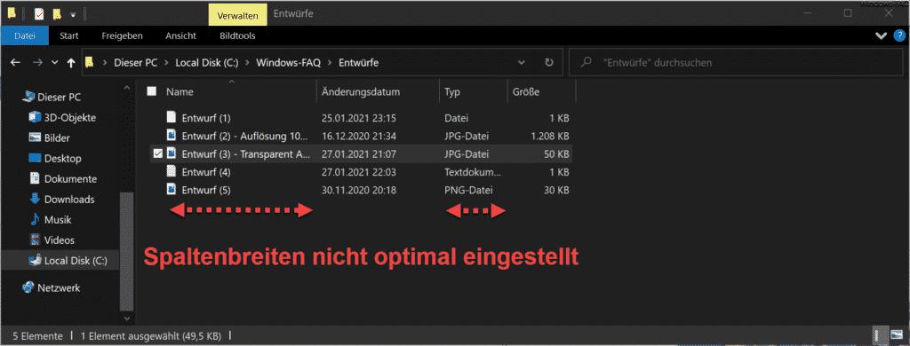 Explorer Spalten zeigen nur Ausschnitte der Dateiinformationen