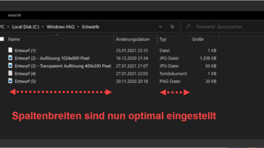 Spaltenbreite vom Windows Explorer optimal einstellen