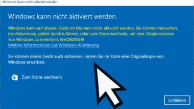Windows Fehlercode 0xC0020036