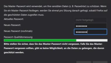 Im Firefox Zugangsdaten und Passwörter speichern (Masterpasswort)