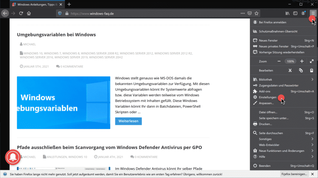 Firefox Menü Einstellungen