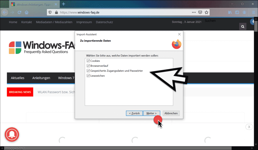 Firefox zu importierende Daten