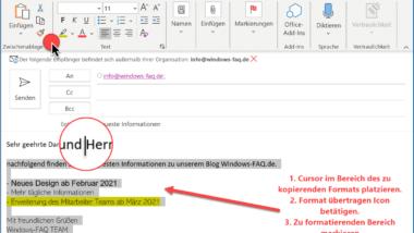 Format übertragen – Einfach Formatierungen im Word,  Outlook oder Excel übertragen
