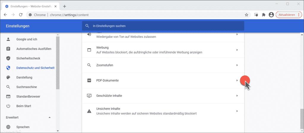 Google Chrome PDF-Dokumente