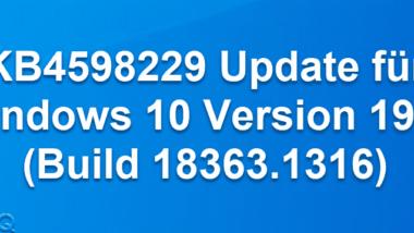 KB4598229 Update für Windows 10 Version 1909 (Build 18363.1316)