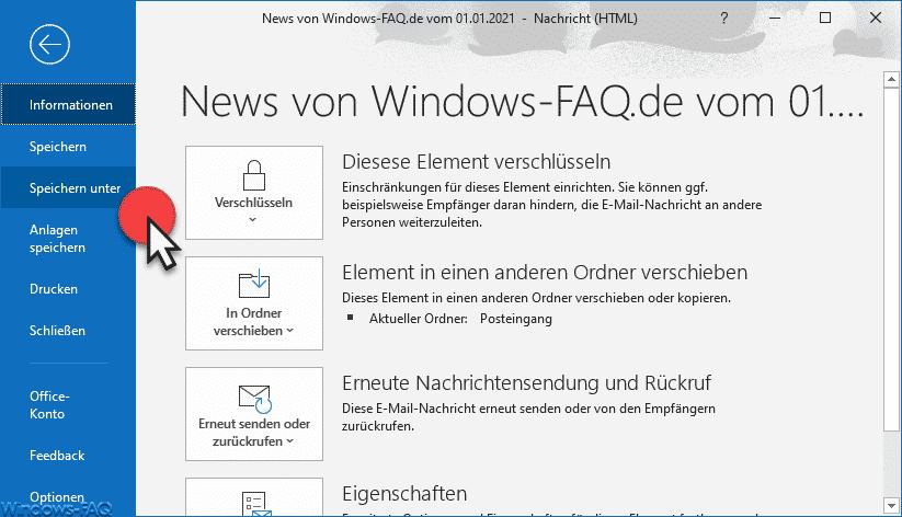 Outlook E-Mail Speichern unter