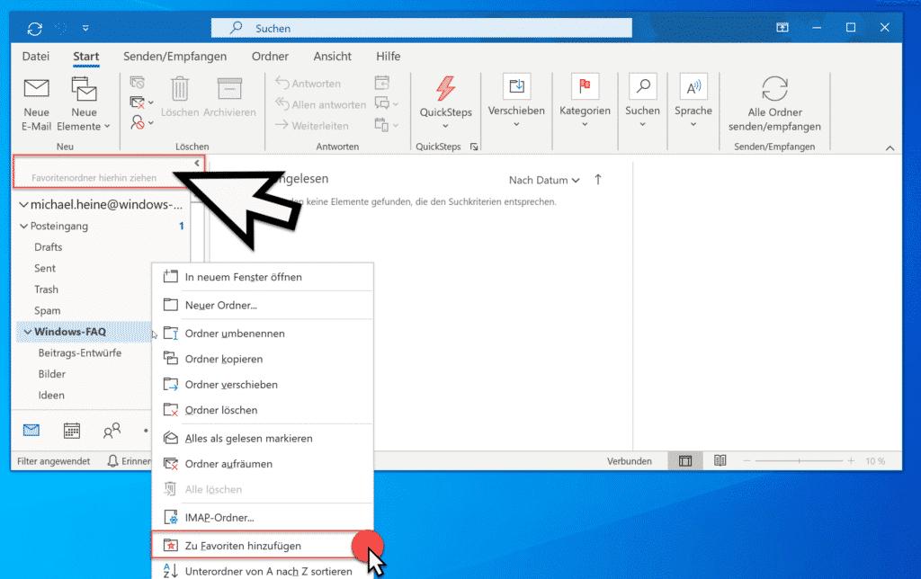 Outlook Ordner zu Favoriten hinzufügen
