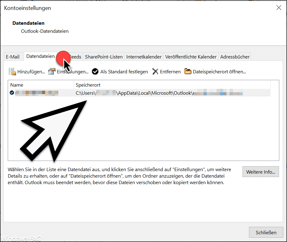 PST Datendatei Speicherort