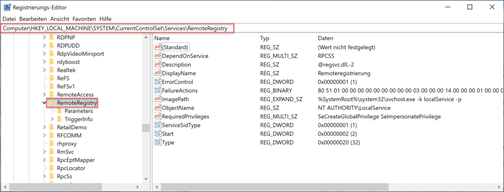 RemoteRegistrierung in der Registry