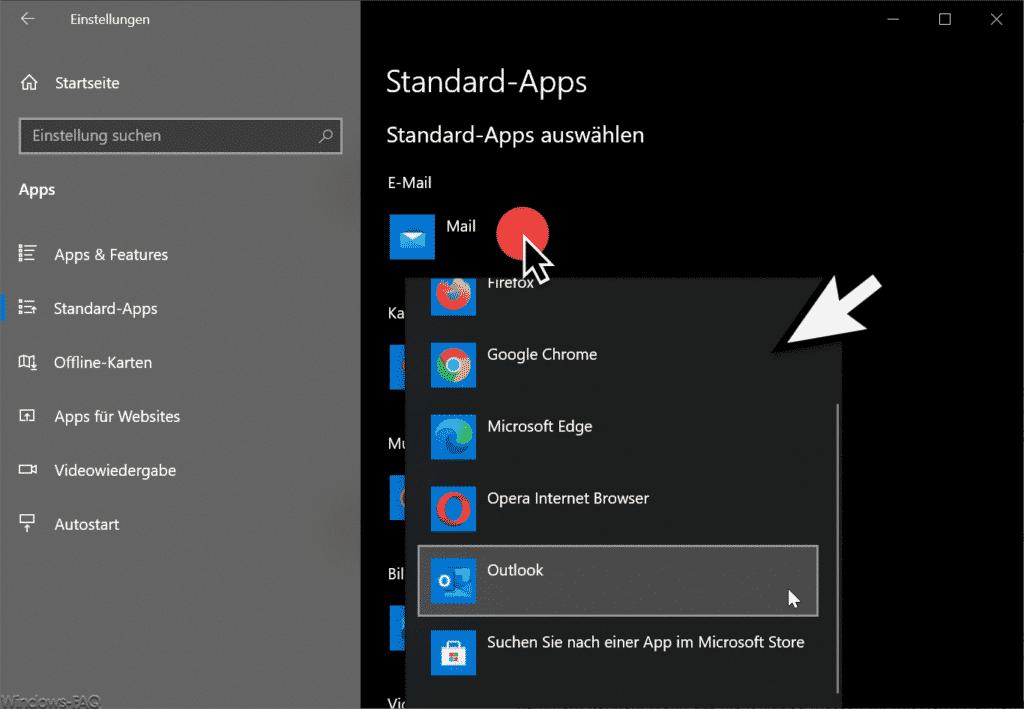 Standard-Apps auswählen wie Mail oder Outlook
