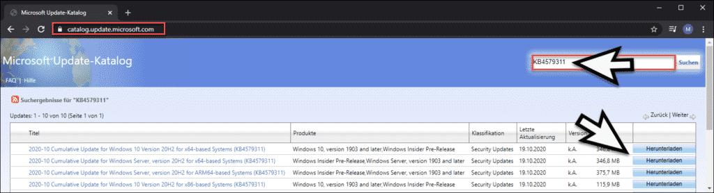 Windows Update Microsoft Update-Katalog Download