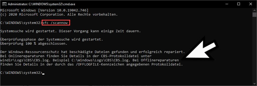 sfc scannow beschädigte Dateien gefunden