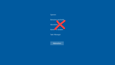 """""""Abmelden"""" entfernen aus Auswahl, wenn der Anwender STRG+ALT+ENTF drückt"""