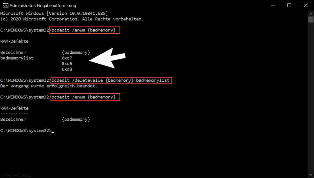 Mit BCEDIT defekte RAM Module finden