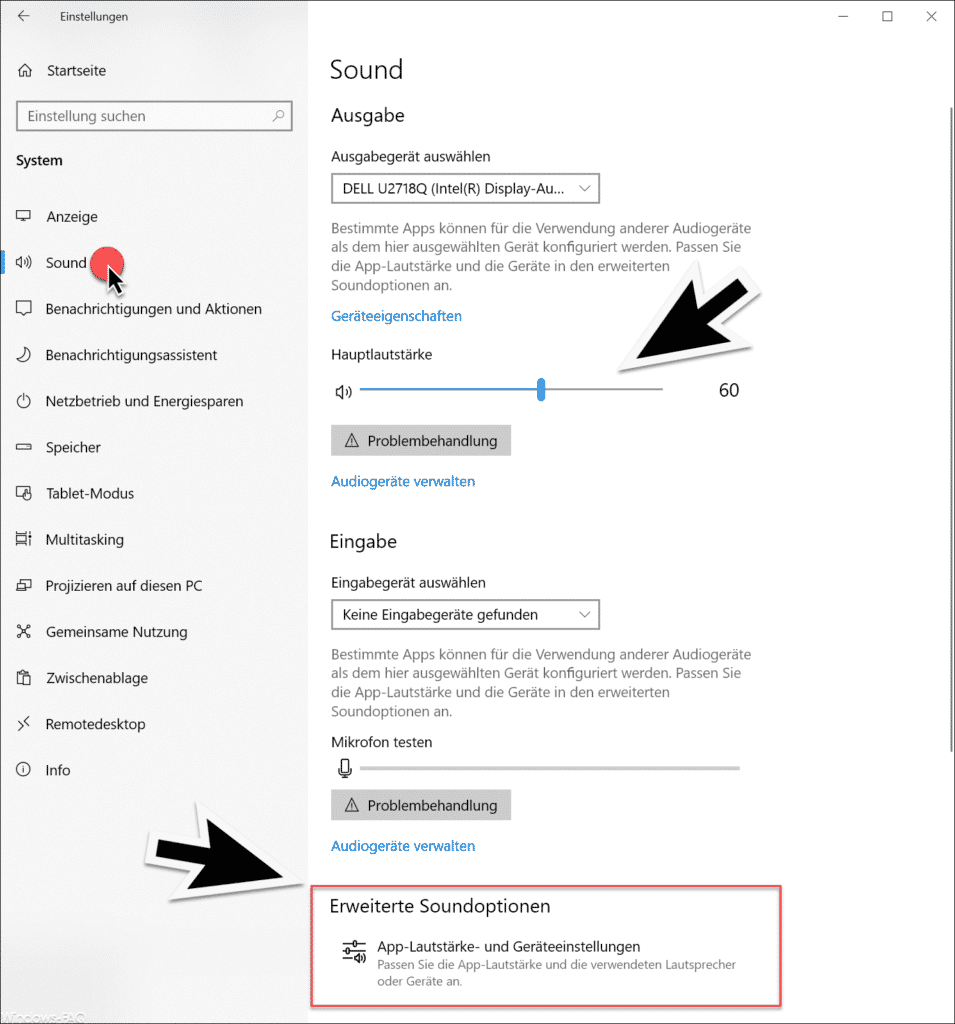 Erweiterte Soundoptionen Windows 10