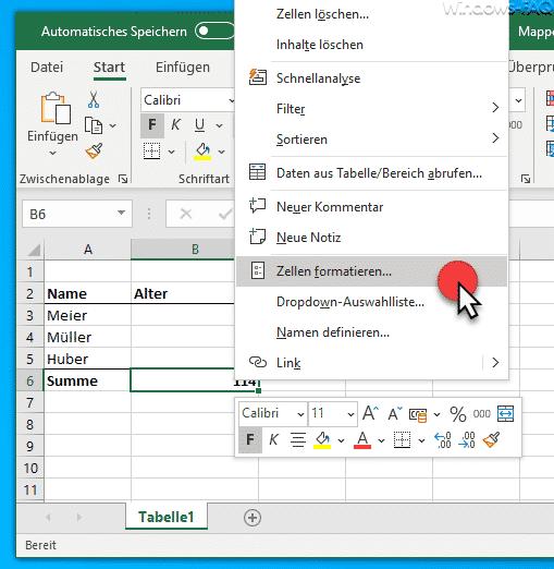 Excel Zellen formatieren