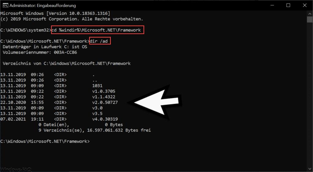 Installierte .Net Framework Versionen