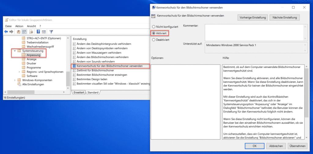 Kennwortschutz für den Bildschirmschoner verwenden