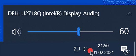 Lautstärkenregler Windows Taskbar
