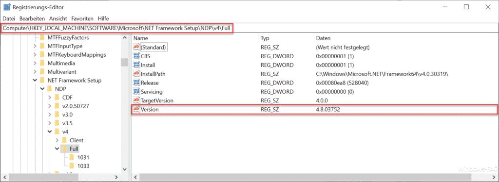 .Net Framework Version Registry