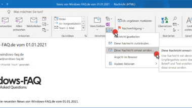 E-Mail im Outlook erneut versenden
