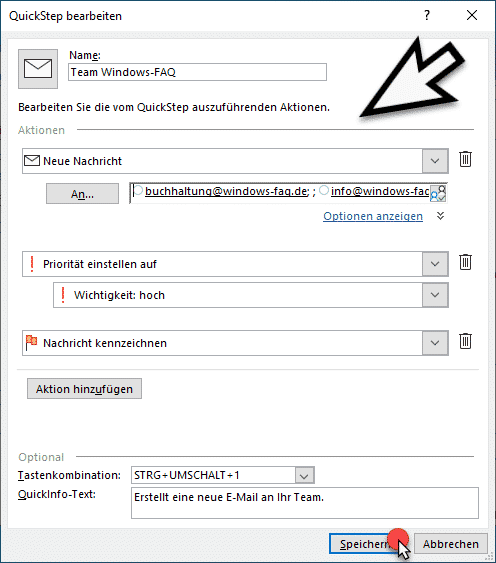 Outlook Quickstep bearbeiten