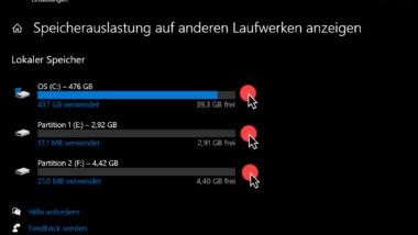 Speicherauslastung aller Laufwerke anzeigen lassen bei Windows 10