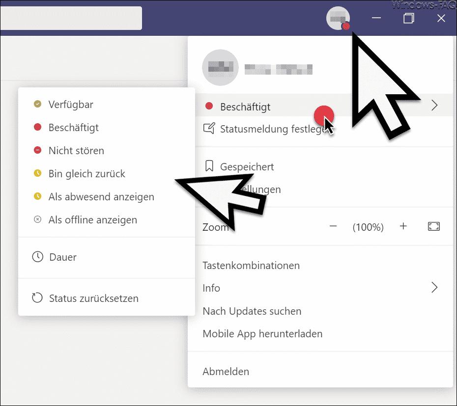 Status verfügbar - beschäftigt - nicht stören usw. im Microsoft Teams