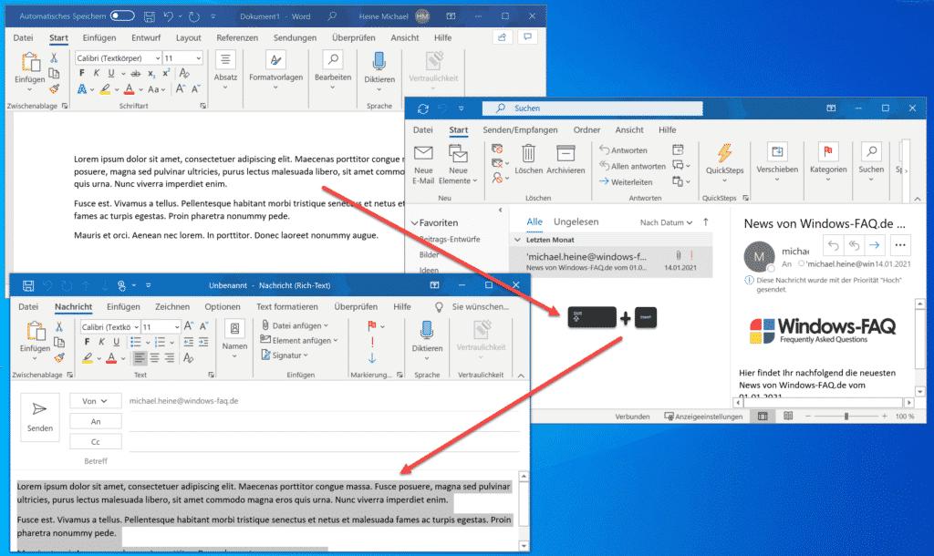 Text markieren und über die Zwischenablage in eine neue E-Mail einfügen