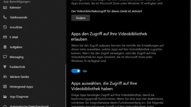 Zugriff auf Videobibliotheken bei Windows 10 einstellen