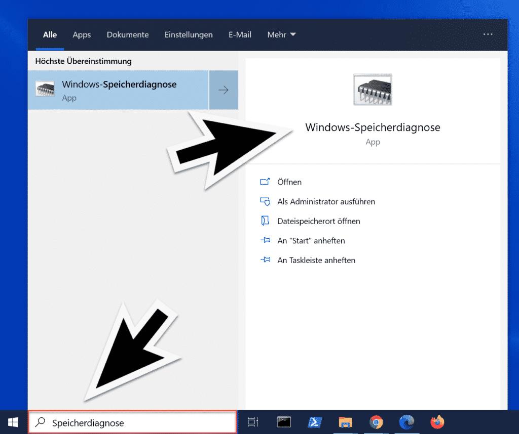 Windows Speicherdiagnose