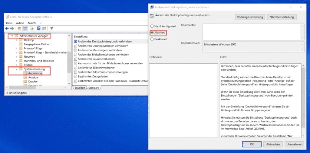 Ändern des Desktophintergrunds verhindern