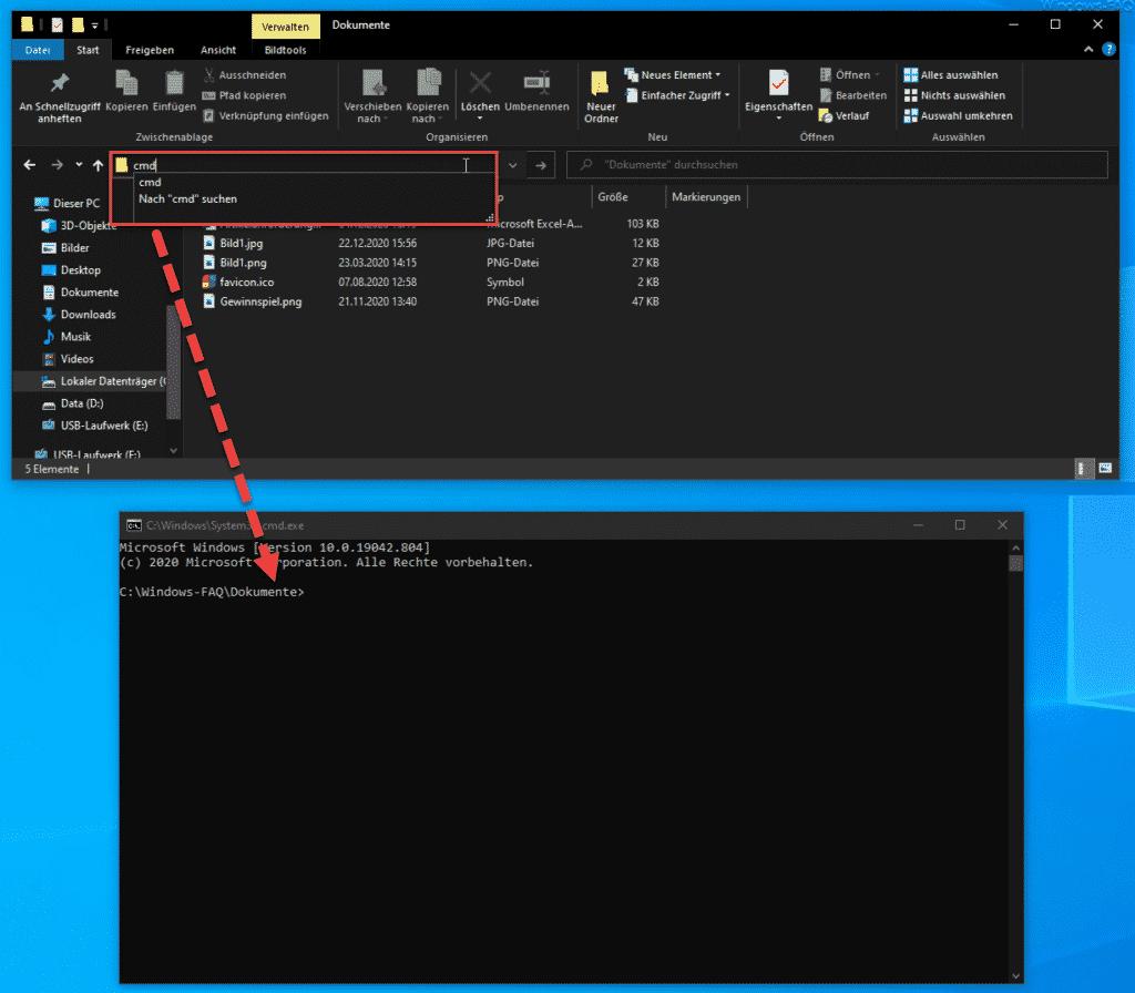CMD mit Pfad aus Explorer geöffnet