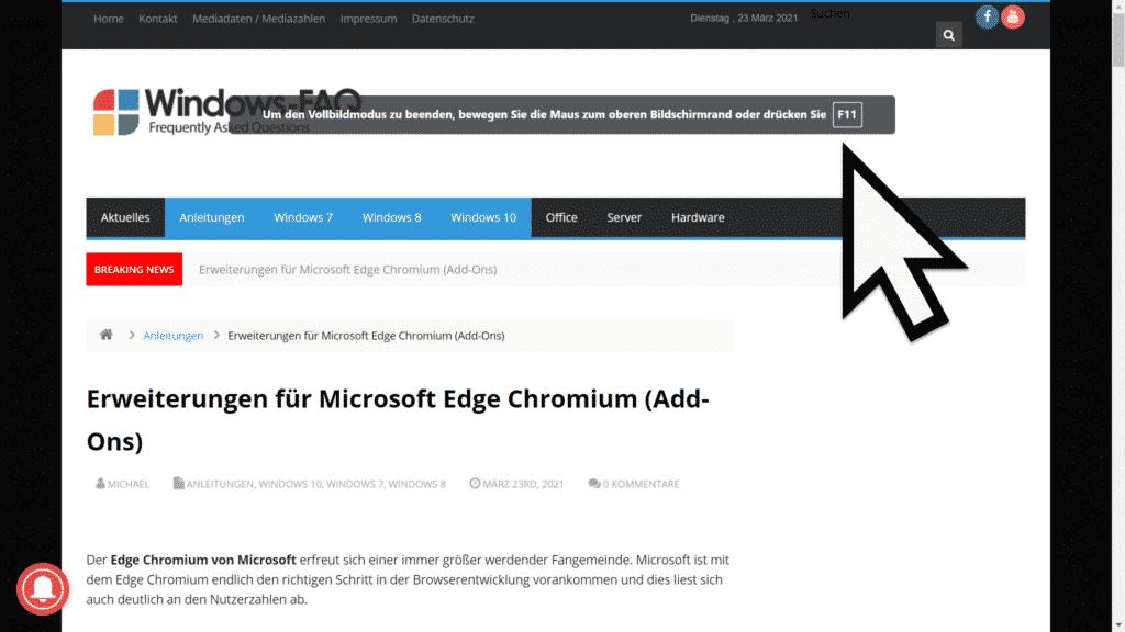 Edge Chromium und Google Chrome im Vollbildmodus