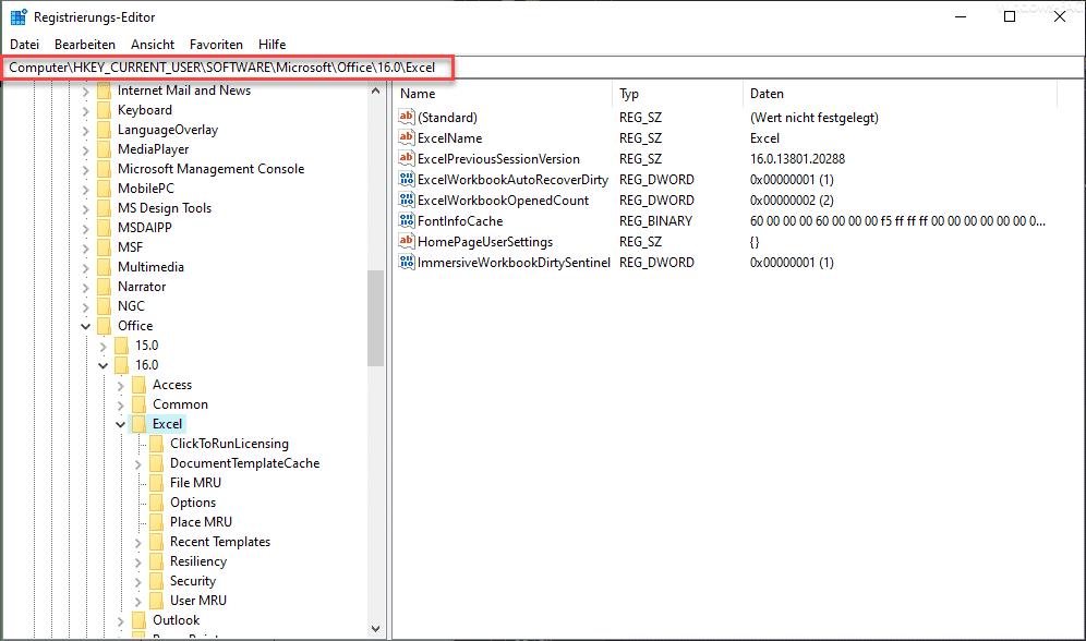 Excel Registry
