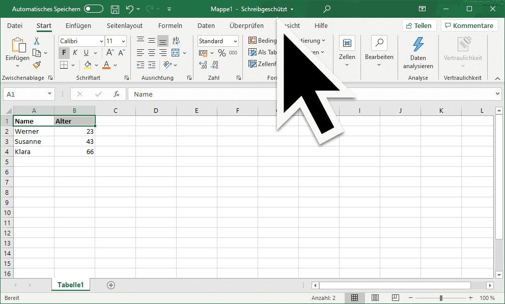 Excel Schreibgeschützt