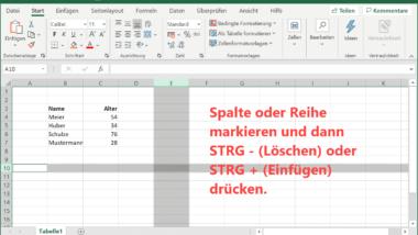 Excel Zeilen oder Spalten ganz einfach per Tastenkombination löschen