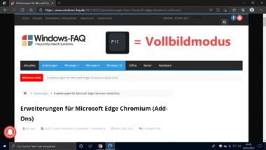 Vollbildmodus im Edge Chromium und Google Chrome