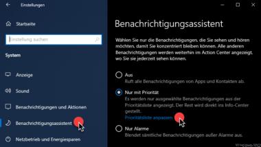 Windows 10 Benachrichtigungen steuern über die Prioritätsliste
