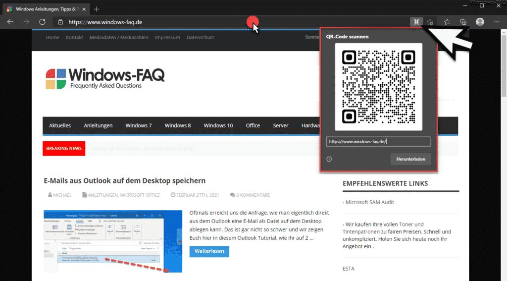 QR-Code von aktueller Webseite erstellen