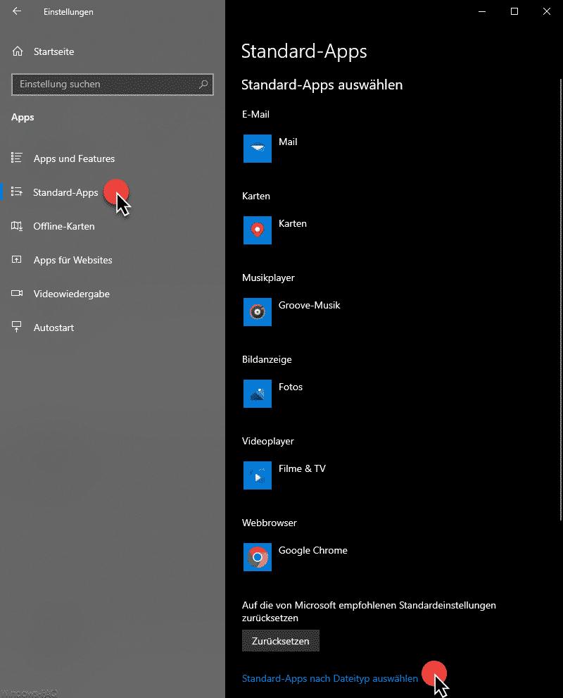 Standard-Apps Windows 10