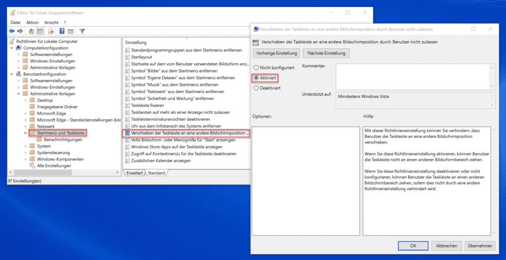 Verschieben der Taskleiste an eine andere Bildschirmposition durch den Benutzer nicht zulassen