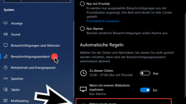 Windows 10 Benachrichtigungen ausschalten beim Spielen