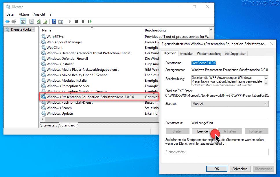 Windows Presentation Foundation-Schriftartcache 3.0.0.0